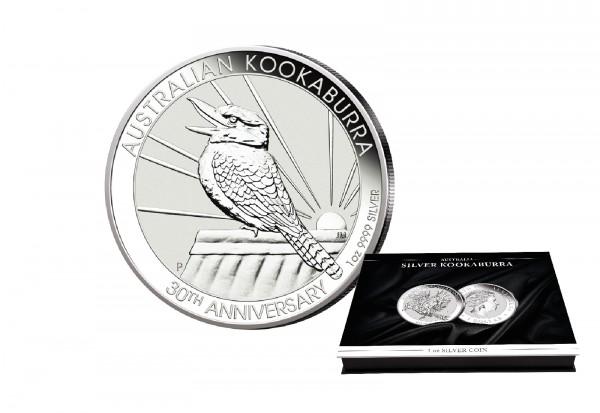 Kookaburra 1 oz Silber 2020 Australien mit passender Münzkassette