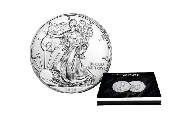 American Eagle 1 oz Silber 2020 USA mit passender Münzkassette