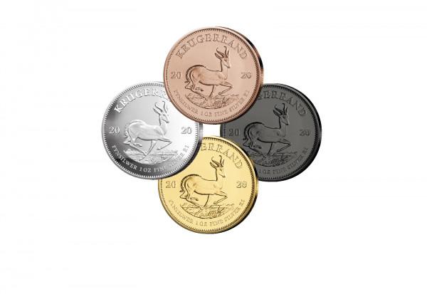 Krügerrand 1 oz Silber 2020 Südafrika veredelt im 4er Set
