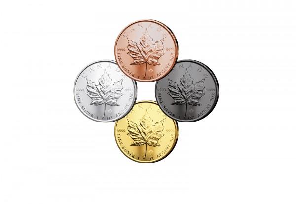 Maple Leaf 1 oz Silber 2020 Kanada veredelt im 4er Set