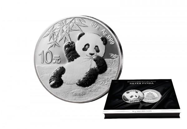 Panda 30 Gramm Silber 2020 China mit passender Münzkassette