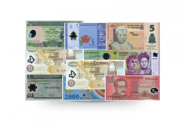 Welt Kollektion 10 Polymer Banknoten