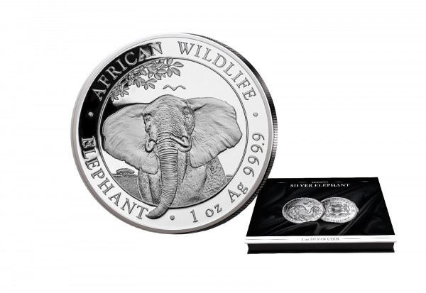 African Wildlife Serie 1 oz Silber 2021 Somalia Elefant mit passender Münzkassette