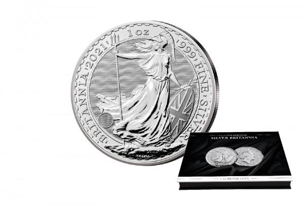 Britannia 1 oz Silber 2021 Großbritannien mit passender Münzkassette