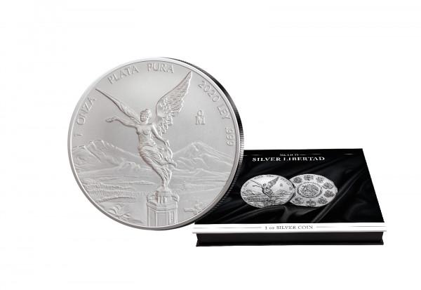 Libertad 1 oz Silber 2020 Mexiko mit passender Münzkassette