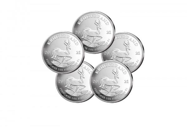 Krügerrand 1 oz Silber 2021 Südafrika im 5er Spar-Set