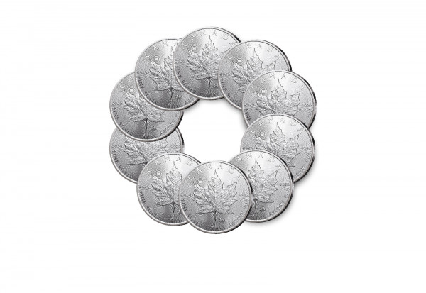 Maple Leaf 1 oz Silber 2021 Kanada im 10er Spar-Set