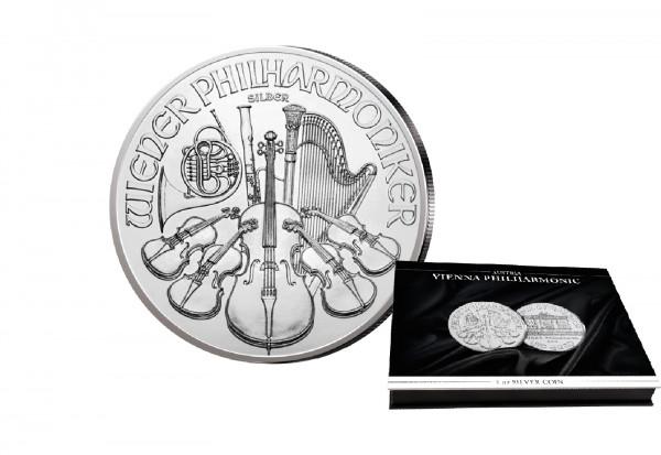 Philharmoniker 1 oz Silber 2021 Österreich mit passender Münkassette