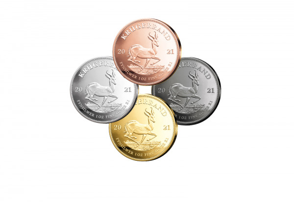 Krügerrand 1 oz Silber 2021 Südafrika veredelt im 4er Set