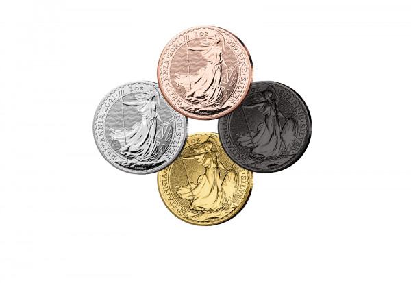 Britannia 1 oz Silber 2021 Großbritannien veredelt im 4er Set