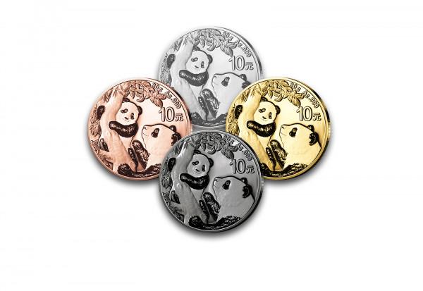 Panda 30 Gramm Silber 2021 China veredelt im 4er Set