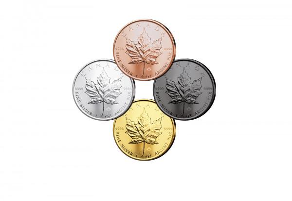 Maple Leaf 1 oz Silber 2021 Kanada veredelt im 4er Set