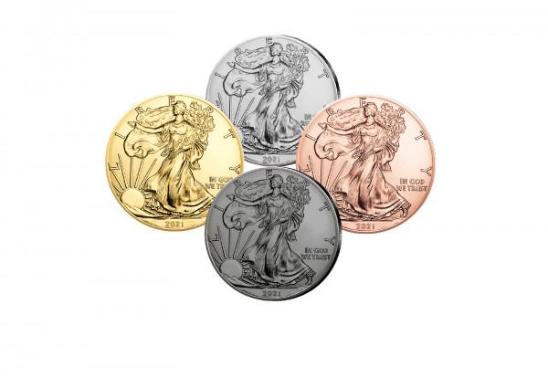 American Eagle 1 oz Silber 2021 USA veredelt im 4er Set