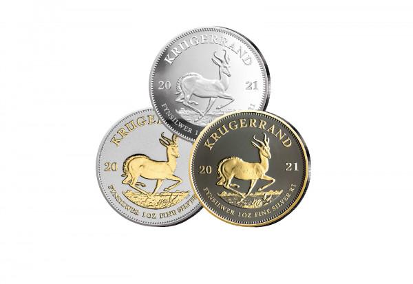 Krügerrand 1 oz Silber 2021 Südafrika veredelt im 3er Set