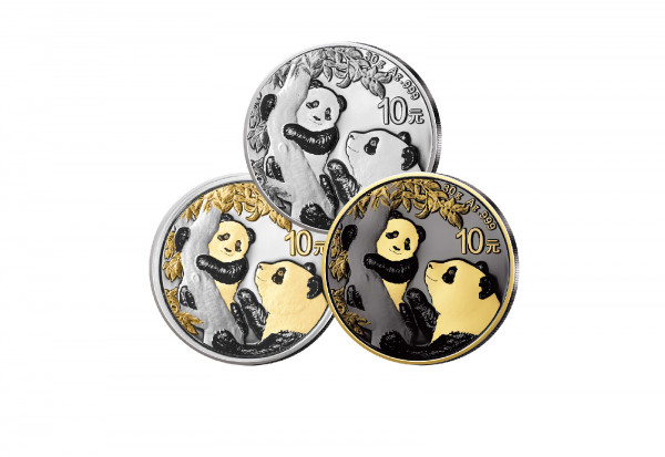 Panda 30 Gramm Silber 2021 China veredelt im 3er Set