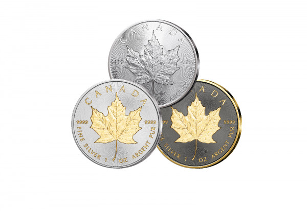 Maple Leaf 1 oz Silber 2021 Kanada veredelt im 3er Set