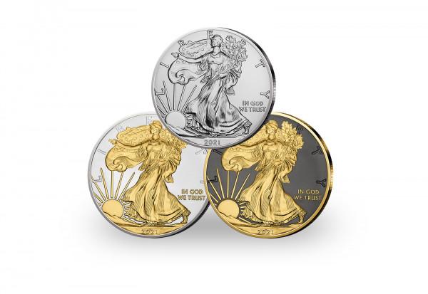 American Eagle 1 oz Silber 2021 USA veredelt im 3er Set