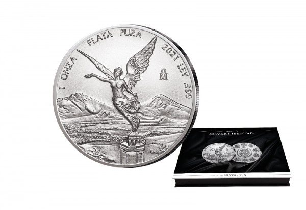 Libertad 1 oz Silber 2021 Mexiko mit passender Münzkassette