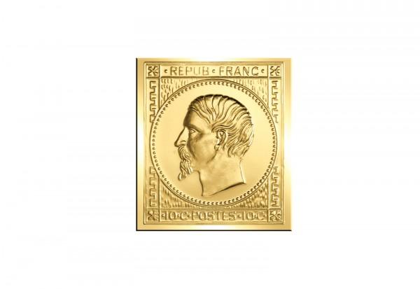 Berühmteste Briefmarken der Welt Goldfolienprägung - Frankreich 10 Cent mit 24 Karat Goldauflage
