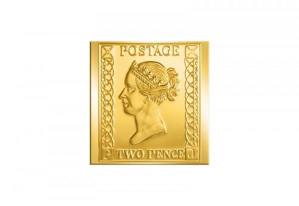 Berühmteste Briefmarken der Welt Goldfolienprägung - Großbritannien 2 Pence mit 24 Karat Goldauflage
