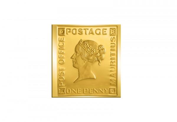 Berühmteste Briefmarken der Welt Goldfolienprägung - 1 Penny Rote Mauritius mit 24 Karat Goldauflage