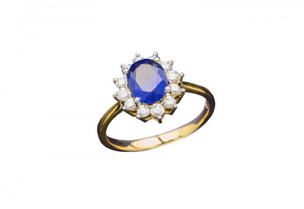 Der königliche Ring Größe 16 mit blauem Stein