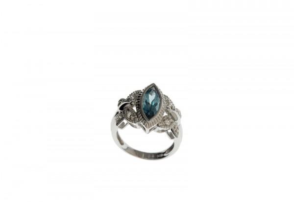 Ring Tanz der Schmetterling Größe 16 mit blauem Stein