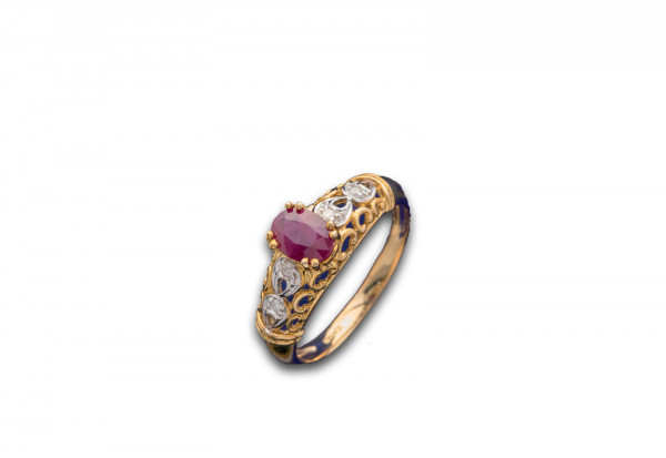 Ring Feuer und Eis Größe 17 mit rubinrotem Stein