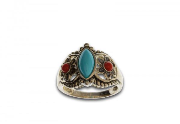 Ring inkl. 3 Steinen rot, blau Geheimnis der Wüstenblum Größe 17