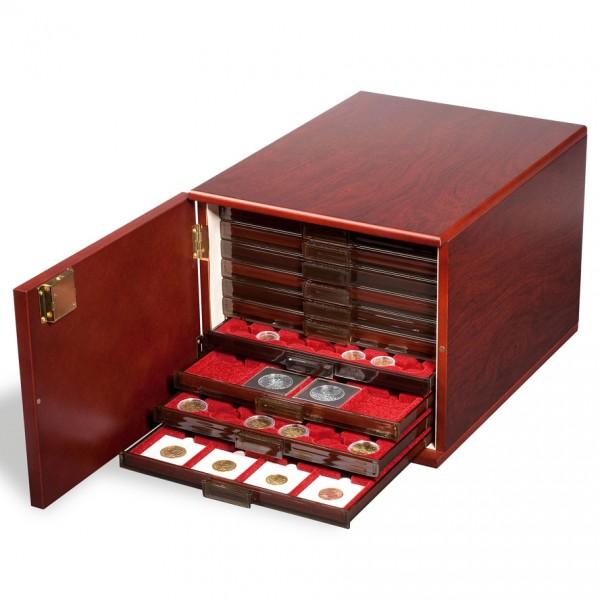 Münzbox-Kabinett für 10 Standard-Münzboxen, mahagonifarben