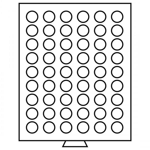 Münzbox 54 runde Fächer mit 26,75 mm, rauchfarben