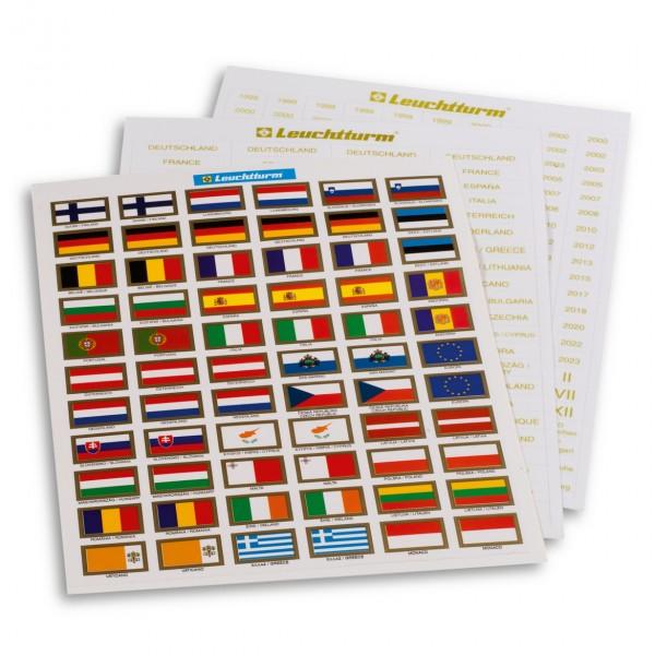Etiketten für Euro-Münzen