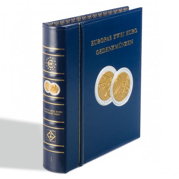 """Münzalbum Classic-OPTIMA,""""Europas 2-Euro-Gedenkmünzen""""inkl.Schutzkassette , blau, Band 1"""