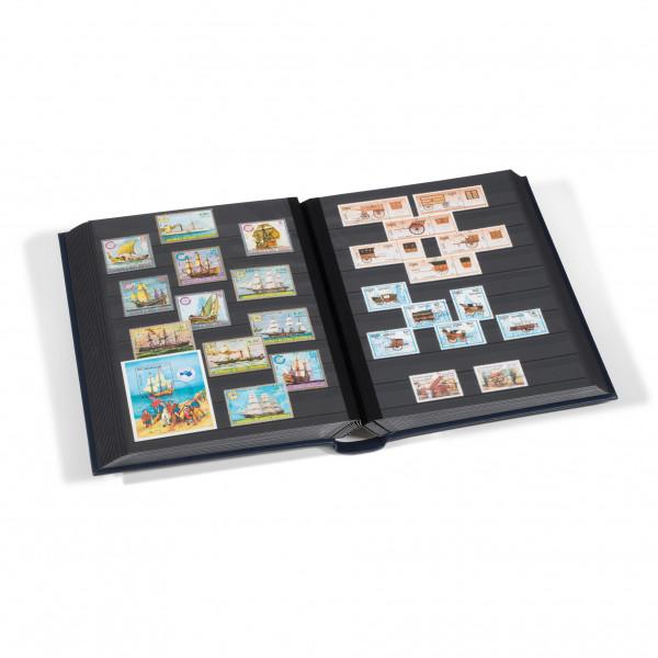 Einsteckbuch LEDER, DIN A4, 64 schwarze Seiten, wattierter Echtleder-Einband, blau