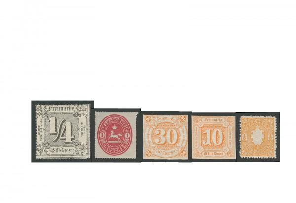 Briefmarken Altdeutschland 5 verschiedene Ausgaben postfrisch