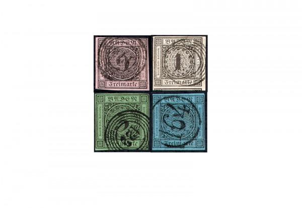 Baden Badener Quartett 1851 bis 1858 Michel Nr. 4b, 5, 6, und 8 gestempelt