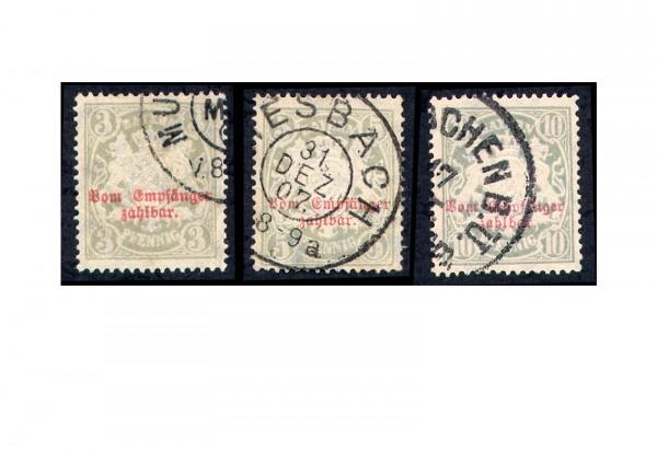 Bayern Portomarken 1888 Michel Nr. P10/12 gestempelt