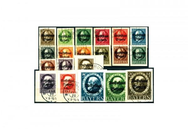 Briefmarken Altdeutschland Bayern König Ludwig III. 1920 Michel-Nr. 116-135 gestempelt