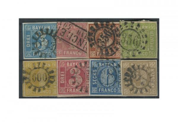 Briefmarken Altdeutschland Bayern Quadratausgaben 1850-1962 gestempelt
