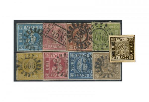 Briefmarken Altdeutschland Bayern Quadrate-Lot 5 verschiedene Marken