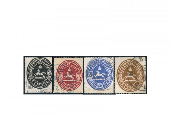 Altdeutschland Braunschweig Michel-Nr. 17/20 gestempelt Freimarken Wappen 1865