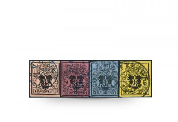 Briefmarken Altdeutschland Hannover Freimarken 1851 Michel-Nr. 3 a,b,4,5 gestempelt