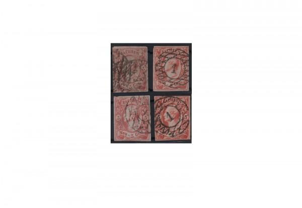 Briefmarken Altdeutschland Sachsen Freimarken 1856-1863 Michel-Nr. 12 a,b,c,e gestempelt
