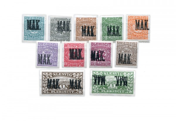 Briefmarken Altdeutschland Schleswig-Holstein 1920 Deluxe-Lot Michel-Nr. 1 P2-14 P2 Falz postfrisch