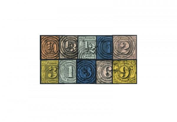Briefmarken Altdeutschland Thurn und Taxis Freimarken 1852-1858 Michel-Nr. 1-10 gestempelt