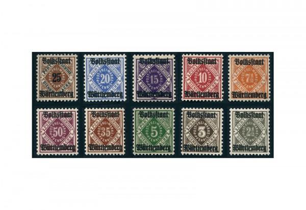Briefmarken Altdeutschland Württemberg Dienstmarken 1919 Michel-Nr. 134-143 postfrisch