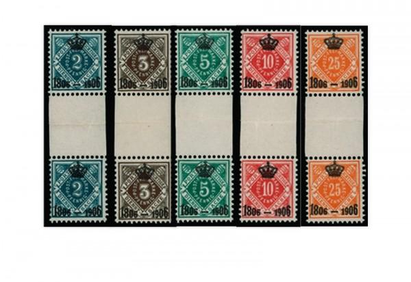 Briefmarken Altdeutschland Württemberg Dienstmarken 1906 Michel-Nr.107-111 ZS postfrisch