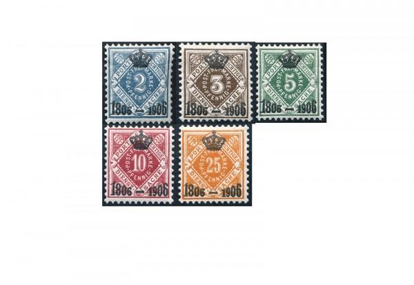 Briefmarken Altdeutschland Württemberg Dienstmarken 1906 Michel-Nr. 107-111 Falz