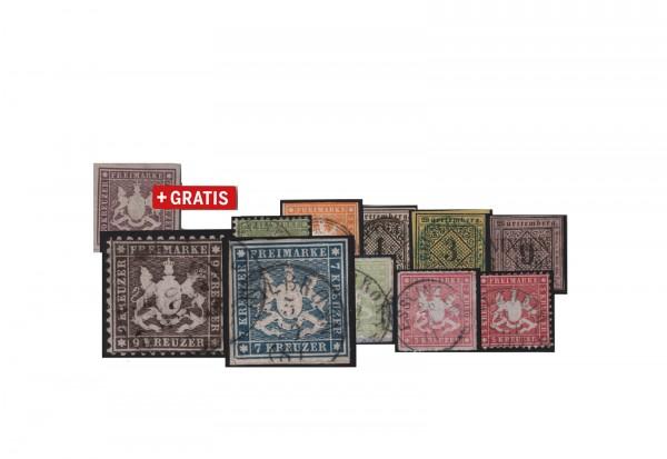 Briefmarken Altdeutschland Württemberg 3 verschiedene Marken gestempelt