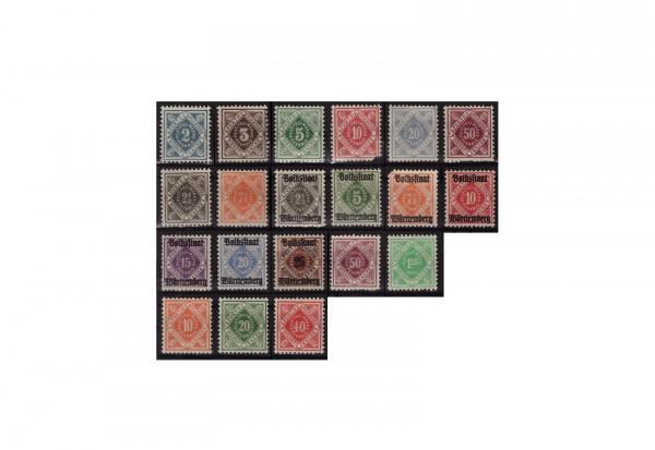 Briefmarken Altdeutschland Württemberg 20 verschiedene Marken postfrisch